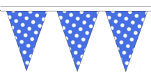 Blue and White Polka Dot Traditional 10m 24 Flag Polyester Triangle Flag Bunting